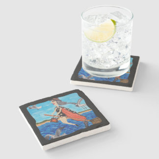 Funny Flying Witch Broom Cat Seagulls Beach Stone Coaster