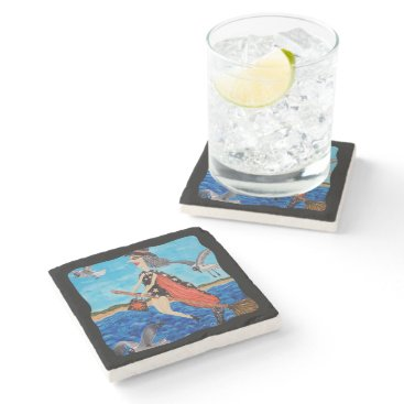 Beach Themed Funny Flying Witch Broom Cat Seagulls Beach Stone Coaster