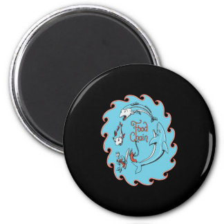 funny food chain vector graphic 2 inch round magnet