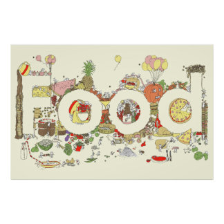 Funny Food Word Design Colourful Watercolour Art Poster