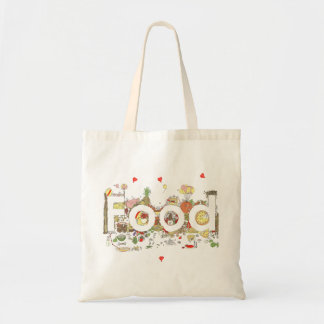 Funny Food Word Design Colourful Watercolour Art Tote Bag