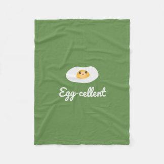 Funny Foodie Cute Egg Eggcellent Humorous Food Pun Fleece Blanket