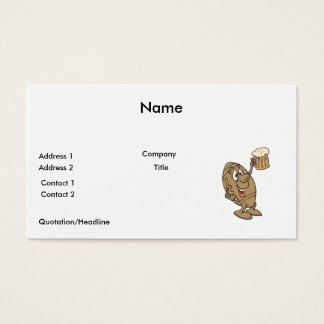 funny football cartoon holding a beer mug business card