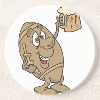 funny football cartoon holding a beer mug coaster