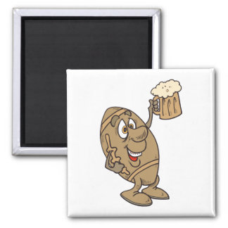 funny football cartoon holding a beer mug 2 inch square magnet