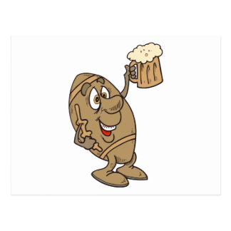 funny football cartoon holding a beer mug post cards
