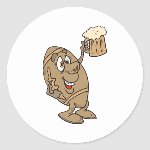 funny football cartoon holding a beer mug classic round sticker