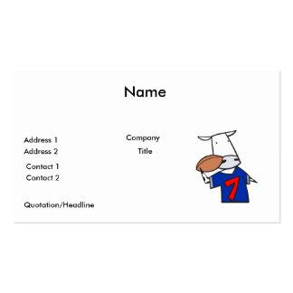 funny football cow cartoon business card