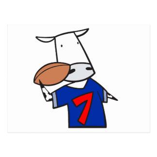 funny football cow cartoon post card