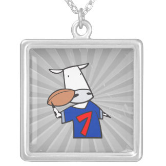 funny football cow cartoon silver plated necklace