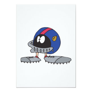 funny football helmet cartoon character card