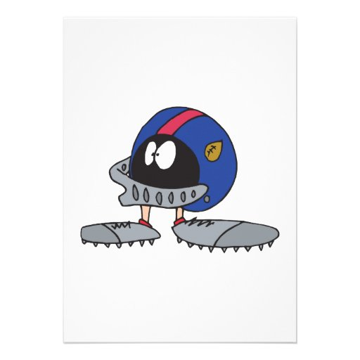 funny football helmet cartoon character custom invitations