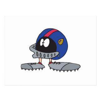 funny football helmet cartoon character postcards
