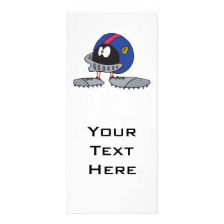 funny football helmet cartoon character rack card