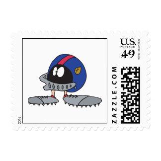 funny football helmet cartoon character stamps