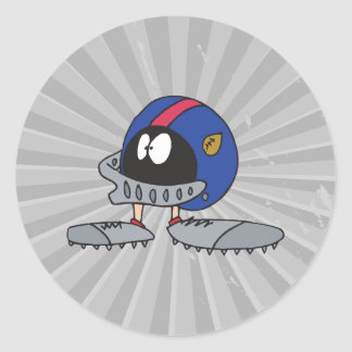 funny football helmet cartoon character classic round sticker