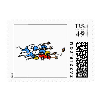 funny football humor tackle pile up graphic postage