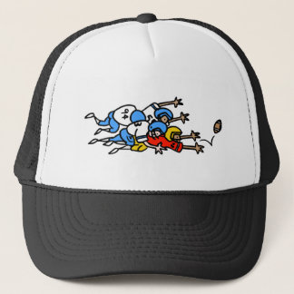 funny football humor tackle pile up graphic trucker hat
