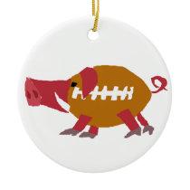 Funny Football Pig Pigskin Ceramic Ornament