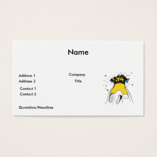 funny football player crashed into wall business card