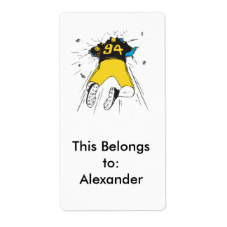 funny football player crashed into wall label