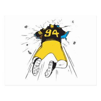 funny football player crashed into wall postcard