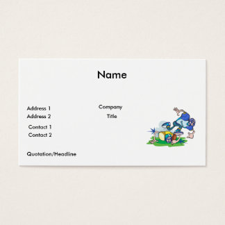 funny football tackle cartoon business card