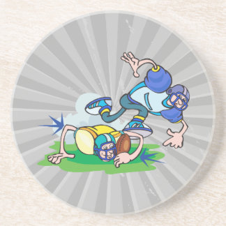 funny football tackle cartoon drink coaster