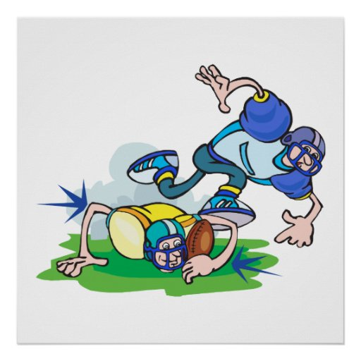 funny football tackle cartoon poster