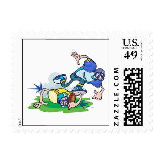funny football tackle cartoon stamp