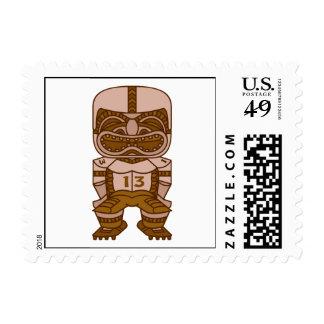 funny football tiki graphic postage stamps