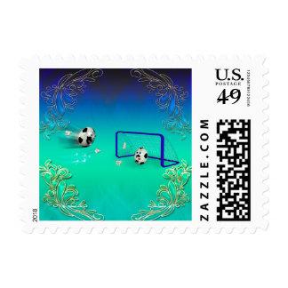 Funny footballs postage stamp