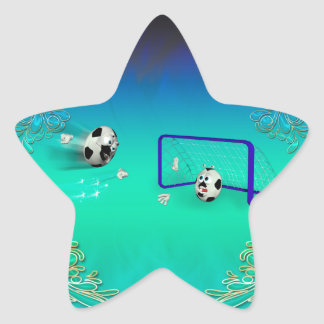Funny footballs star sticker
