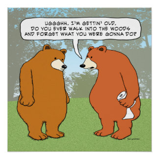 Funny Forgetful Bear in Woods Poster
