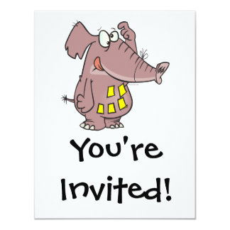funny forgetful elephant with sticky notes 4.25x5.5 paper invitation card