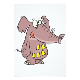 funny forgetful elephant with sticky notes 5x7 paper invitation card