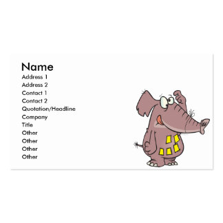 funny forgetful elephant with sticky notes business card