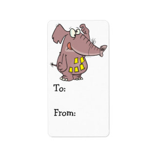 funny forgetful elephant with sticky notes label