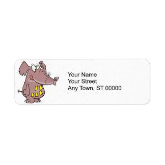 funny forgetful elephant with sticky notes custom return address label