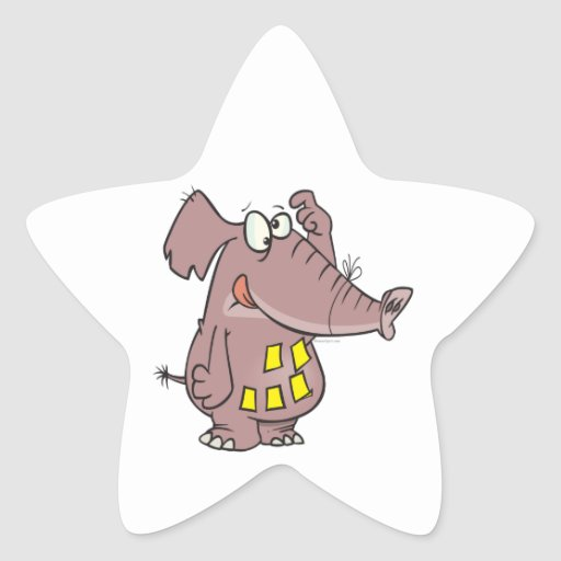 funny forgetful elephant with sticky notes star sticker