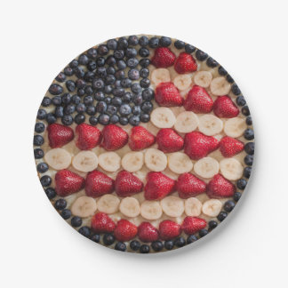 Funny Fourth of July American USA Flag Faux Fruit Paper Plate