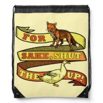 Funny Fox Duck Animal Pun Drawstring Backpack
