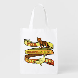 Funny Fox Duck Animal Pun Reusable Grocery Bag