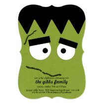 Funny Frankenstein Face for Halloween Party Invitation
