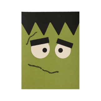 Funny Frankenstein Face for Halloween Wood Poster