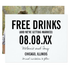 Funny Free Drinks Photo Horizontal Save The Dates Card at Zazzle