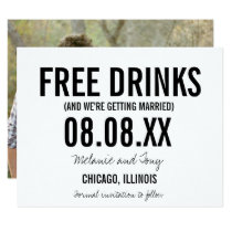 Funny Free Drinks Photo Horizontal Save the Dates Invitation