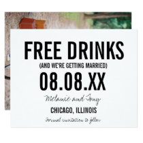 Funny Free Drinks Photo Vertical Save the Dates Invitation