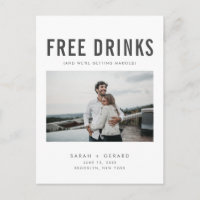Funny Free Drinks Wedding Photo Save the Dates Announcement Postcard