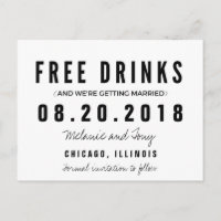 Funny Free Drinks Wedding Save the Dates Announcement Postcard